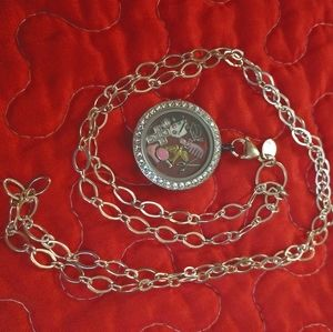 Origami owl locket, chain and charms